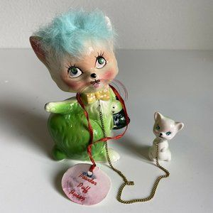 Vtg 50s Kreiss Japan Green Powder Puff Pussy Cat